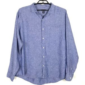 Lands End Linen Blue Button Up Long Sleeve XXL
